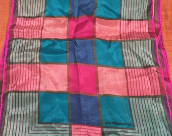 Vintage Liz Claiborne Color Block Silk Oblong Scarf Hot Pink, Teal and Black- vintage scarf, Liz Claiborne scarf, oblong scarf