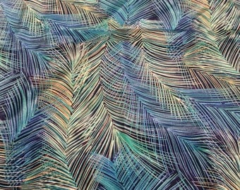 "Blue and Green Feather Design Polyester Fabric by Hi Fashions 45"" x 58""- vintage fabric, feather fabric, blue and green polyester print"