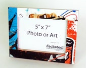 Picture Frame for 5x7 photo. Made from Recycled Skateboards by Deckstool. Skateboarder gift Cool street pop inspired wall art