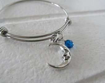 Moon Bracelet- Adjustable Bangle Bracelet with Moon Charm, and accent bead in your choice of colors