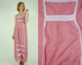 ON SALE 50% 70's Vintage Red GINGHAM Summer Dress With Lace Details (M)