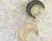 Druzy Crescent Necklace - Gold Plated druzy crescent, druzy necklace, boho jewelry