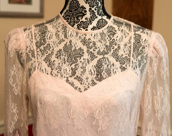 1980s Pale Pink Lace Dress