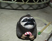 Mini Christmas Sloth with Candy Cane original art by Janell Berryman Pumpkinseeds