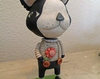 Boston Terrier folk art sculpted DOG by artist Janell Berryman Pumpkinseeds originals art