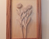 Chrysanthemums Three wood carving in a hand crafted frame  fall flowers 5th anniversary gift fall wedding gift or November birthday gift