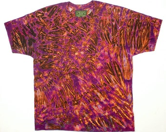 XXL Shibori Dyed Men's T Shirt Purple Black Tie Dye Deluxe 2X
