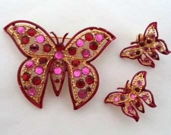 Vintage Rhinestone Enamel Butterfly Brooch and Earrings Set Unsigned