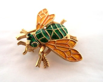 Crown Trifari Insect Bug Brooch Pin Signed