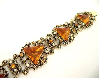 Ornate Amber Rhinestone and Pearl Bracelet in Antique Gold Very Wide