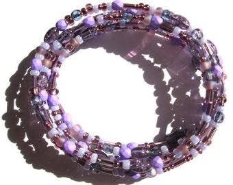 Purple Bead Mix Bracelet, Beaded Memory Wire Wrap Bracelet, Czech Glass Bracelet, Lavender Violet Crystal Stackable Bracelet, Wrap Cuff