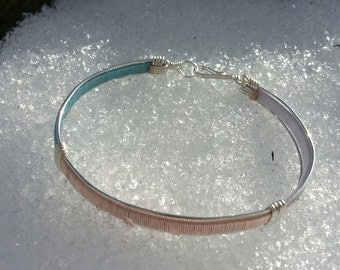 Handmade Silver Plated Transgender Rainbow Pride Bangle Bracelet