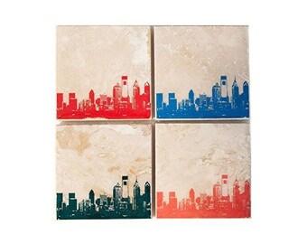 Philadelphia Skyline Coaster Set (4 Stone Coasters, Orange, Green, Blue, & Red) Philly Cityscape Home Decor