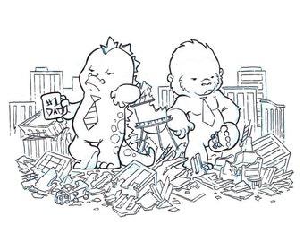 Break Time: Original Inks, Godzilla, King Kong, city