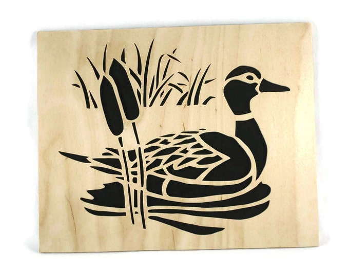 Duck Scene Nature Wall Hanging Wood Art Handmade From Birch Wood
