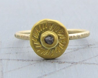 Gold Diamond Ring - Diamond Engagement Ring - Gold Rough Diamond Ring - Uncut Diamond & Solid Gold Ring