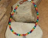 Chakra Anklet With Sterling Lotus Flower Charm,Czech Beads,  Leather Button Closure