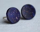 Lapis Lazuli Blue Studs ... Midnight Sky Earrings Vintage Glass