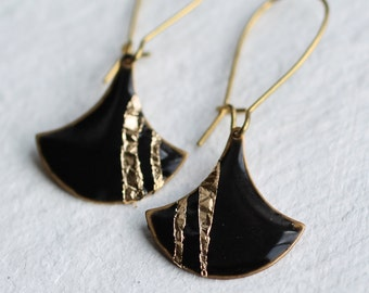 Art Deco Enamel Earrings ... Black Geometric Gold Copper