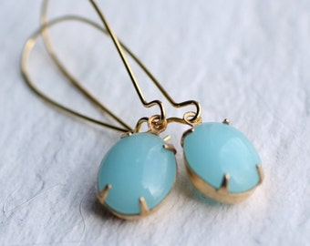 Seafoam Earrings ... Turquoise Opal Earrings in Robin Egg Blue