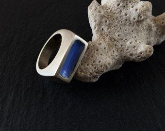 Geometric Ring, Lilac Ring Blue Enamel Statement Ring Metalwork