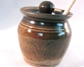 Honey Pot - Jar Canister - Lid - Dipping Stick - Stoneware Crock - Walnut Brown - Oatmeal Tan - Handmade Pottery - Pottersong Pottery