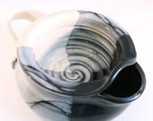 Shaving Scuttle Mug Cup Bowl For Comfort Hot Wet Shave - Handmade Pottery Glazed Black, Ivory, Gray