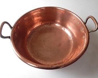 Large Antique Solid Copper 'Confiture' Pan