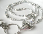 Silver Heart Badge Lanyard ID Holder with Swarovski Crystals and Pearls - Gray and Silver Badge Holder - Keychain - Heart lanyard