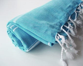 SALE 50 OFF / Turkish Beach Bath Towel / Classic Peshtemal / Crystal Blue / Wedding Gift, Spa, Swim, Pool Towels and Pareo