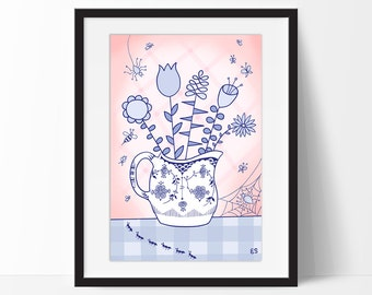 Spring Bouquet Art Print, Flowers in a Royal Copenhagen Pitcher with Spiders, Insects, Pink and Blue Abstract Still Life, Floral Decor