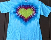 Tie dye heart tee shirt youth size L