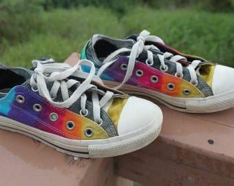 Tie dye Rainbow shoes Converse Double Tounge upcycled