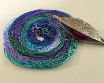 "Size 20 ""Dragon Scales"" hand dyed cotton thread for tatting or crochet"