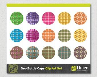 Geometric Bottle Cap Images, Geometric Clip Art, Bottle Caps, 1 inch Circle, Digital Clip Art, Bottle Cap Clip Art, Geometric Pattern