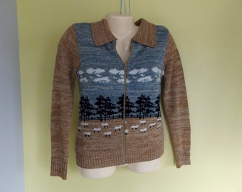 Vintage Zipper Front Ladies sweater, Retro 80's sweater, Novelty sweater, Sheep