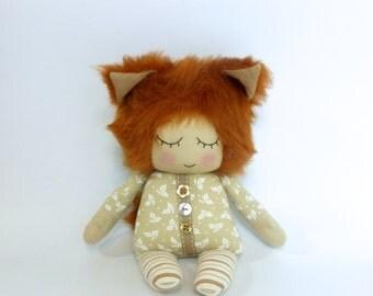 fox doll, sleepy fox doll, plush fox