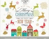 Christmas clip art, rustic christmas, reindeer clip art, christmas house, holiday clipart