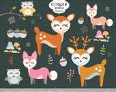 Woodland animals clip art, animal clipart, fox, deer, forest animal clipart, royalty free
