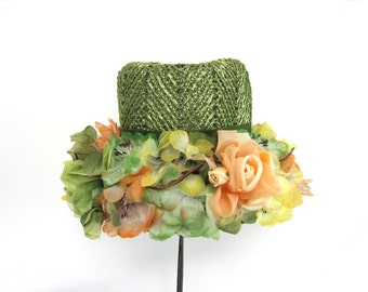 Vintage Straw Hat Bucket Style Green Silk Flowers Floral Woven Gimbels UNHA Union Made In USA Halloween Photo Prop