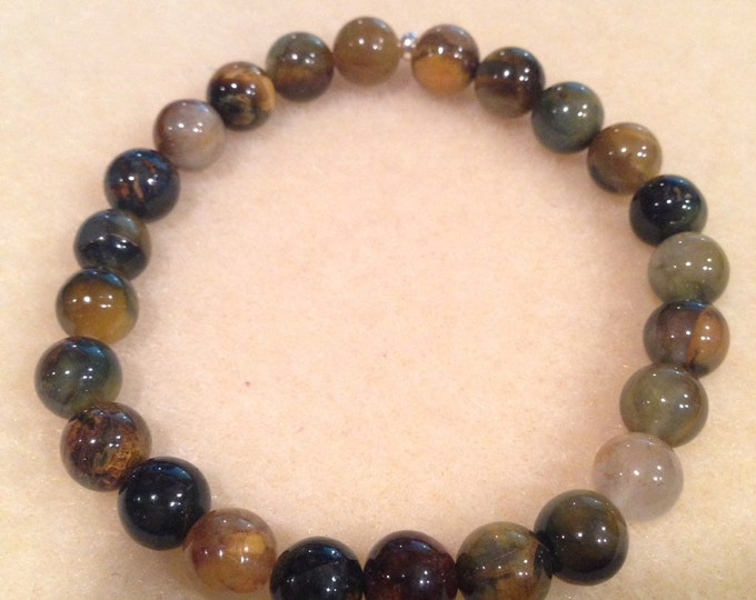 Golden Pietersite 8mm Round Bead Stretch Bracelet with Sterling Silver Accent