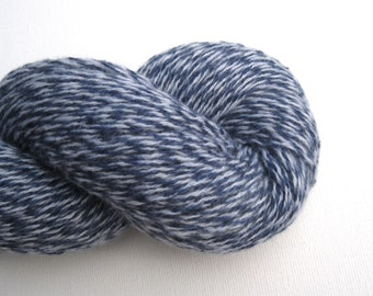 Reclaimed Cashmere Yarn, Heavy Lace Weight, Navy and White, Lot 160416
