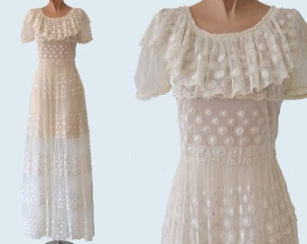 1930s Sheer Net Lace Dress size S