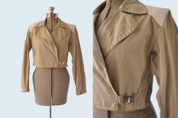 1940s Canvas and Leather Skiing Jacket