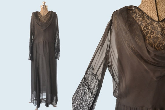 1930s Sheer Black Silk and Lace Dress
