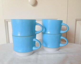 Vintage blue Fire King coffee mugs
