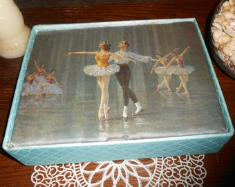 Mid Century Blue Satin Quilted Hosiery Box with Ballerina Picture on Top