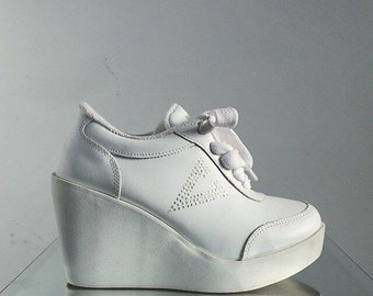 90's Volatile Rhinestone Wedge Platform Wedge Lace Up Sporty Spice Sneakers // 6.5 - 7