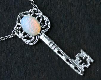 Moon Opal Key Necklace
