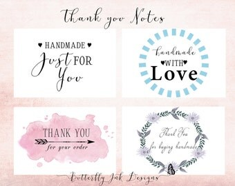 Thank you notes, INSTANT DONWLOAD,  four pack, digital file, thank you, business thank you card, handmade business